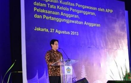 Penyampaian laporan penyelenggaraan Konferensi AAIPI oleh Inspektur Jenderal Kementerian Keuangan.